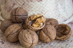 Walnuts. A bunch of walnuts, laying on the hat's pent Stock Images