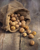 Walnuts in burlap bag on old wood table Stock Photo