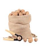Walnuts in burlap bag Royalty Free Stock Image