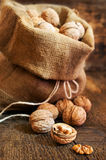 Walnuts in a burlap bag Royalty Free Stock Image
