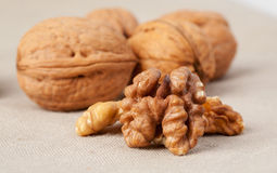 Walnuts on burlap sack Royalty Free Stock Photos