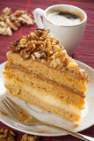 Walnuts cake and coffee Stock Photos