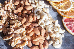 Walnuts, cashew nuts and almonds Stock Photos