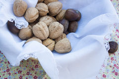 Walnuts and chestnuts in a basket. On linen napkin and flowers tablecloth Stock Photos