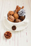Walnuts and Christmas decor Stock Photos