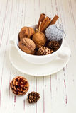 Walnuts and Christmas decor Stock Photography