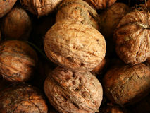 Walnuts close-up. Walnuts in basket close-up Stock Photo