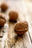 Walnuts close up. On table Royalty Free Stock Photos