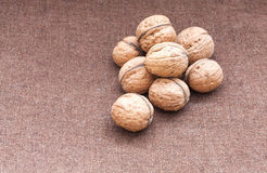 Walnuts close up on the burlap background Royalty Free Stock Photography