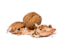 Walnuts close up isolated Stock Photos
