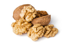 Free Walnuts Close Up Isolated On White Stock Images - 12913514