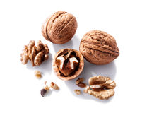 Walnuts close-up   on white background Stock Images