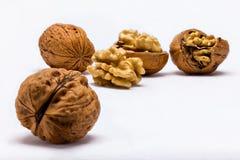 Walnuts closeup on white background stock photography