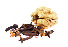 Walnuts with cloves Royalty Free Stock Image