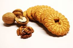 Nut. Walnuts. Biscuit. Sugar biscuits with nuts. Biscuits and nuts. Dessert. Bakery products. Pastry made from dough. Royalty Free Stock Photos