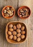 Walnuts, core and nutshell Royalty Free Stock Image