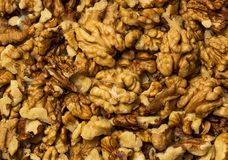 Walnuts cores. Pile of walnuts cores. Brain food royalty free stock photography