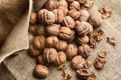 Walnuts on craft loft cloth. Lots of walnuts on craft loft cloth Stock Photo