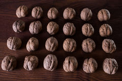 Walnuts on a dark background, conceptual photography. Walnuts lie in a row in a heap royalty free stock photo
