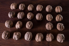Walnuts on a dark background, conceptual photography. Walnuts lie in a row in a heap, an extra player, an interesting idea royalty free stock photography