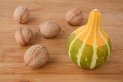 Walnuts and decorative pumpkin Stock Photos