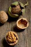 Walnuts details on old wood Royalty Free Stock Images