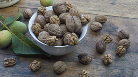 Walnuts on display in bowl and on wooden table. Walnuts 005 on display in bowl and on wooden table. High resolution image Royalty Free Stock Image