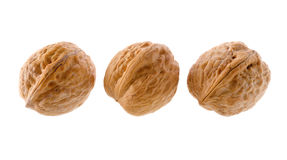 Walnuts. Food: group of walnuts, isolated on white background stock images