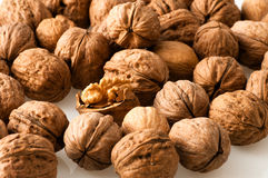 Walnuts in the foreground for diet Royalty Free Stock Photos