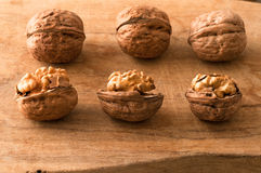 Walnuts in the foreground for diet Royalty Free Stock Images