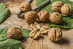 Walnuts. Fresh walnuts on an old wooden table Stock Photography