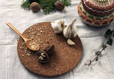 Walnuts and garlic on white cloth Stock Photography