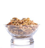 Walnuts in glass container. Royalty Free Stock Image