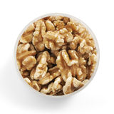 Walnuts in a glass jar shot from above Royalty Free Stock Image