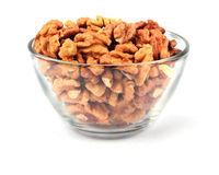 Walnuts in glass plate Stock Image