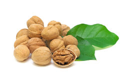 Walnuts and green leaves on white background Stock Photo