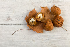 Walnuts on grunge backdrop Royalty Free Stock Photography