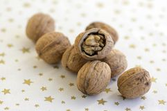 Walnuts in hard shells, pile on white Christmas tablecloth with golden stars, one nut with broken shell. Walnuts in hard shells, pile on white Christmas white stock photography