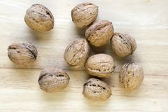 Walnuts in hard shells, pile on wooden background, fruits in hard shells royalty free stock images