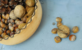 Walnuts, hazelnuts and almonds in shells Royalty Free Stock Photo