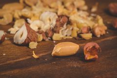 Dry fruits on wooden table Royalty Free Stock Photography