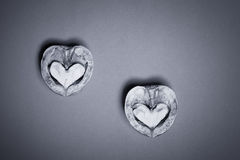 Walnuts heart, funny baqckground Valentine day Royalty Free Stock Photos
