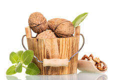 Free Walnuts In Wooden Bucket And Scoop Isolated On White. Stock Image - 71509411