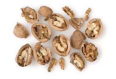 Walnuts Isolated on White. Walnuts as Healthy and Nutritious Dietary Supplement Royalty Free Stock Photos