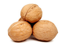 Walnuts isolated on white. Background Royalty Free Stock Photography