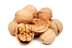 Walnuts isolated on white. Background Royalty Free Stock Photos