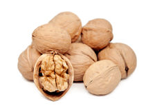 Walnuts isolated on white. Walnuts isolated on white background Royalty Free Stock Photography
