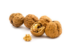 Walnuts isolated on a white background. Some walnuts isolated on a white background Royalty Free Stock Images