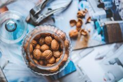 Walnuts in the jar Stock Images