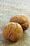 Walnuts on jute Royalty Free Stock Photo